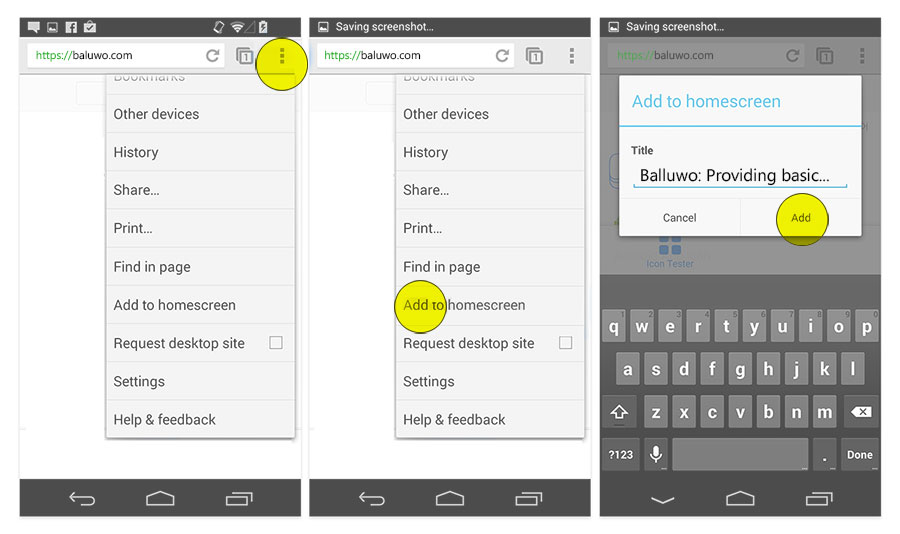 Instructions for Chrome on Android
